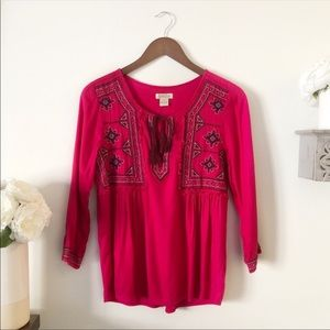 Lucky Brand boho embroidered hot pink blouse Small